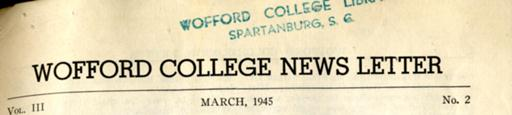 Wofford College News Letter (World War II)