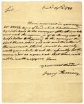 Notification letter of land warrant to Col. John Fitzgerald, signed Benjamin Harrison