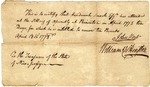 Certificate written to Henderick Smock for 10 pounds, signed by William W. Houghton and John Hart
