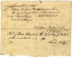 Receipts of the delivery of  gunpowder to Isaac Pinney, dated 1777-07-01, signed by Howard Moulton and Jonathan Trumbull