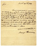 Notification letter of land warrant to Col. John Fitzgerald, signed Benjamin Harrison