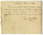 Receipt for 62 ₤10 notes paid to Samuel B. Webb by Capt. Edward Mulbley, 1777.