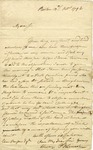 Letter from Benjamin Lincoln to Eben Parsons regarding the son of a friend from North Carolina, 1796.