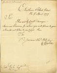 Letter from Peter Parker to Nicholas Cook regarding American prisoners. Rhode Island, 1777.