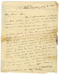 Caesar Rodney letter to his son John Rodney, dated 1817, Wilmington, Delaware.