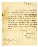 Letter from William Thornton, superintendent of the US Patent Office, to W. Josiah Bennett regarding patent, November 1, 1809.