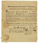 Appointment of Jacob Morton as sheriff in Charlotte County, Virginia, signed by James Monroe, 1802.