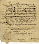 Appointment for Jacob Miller  as ensign in Virginia's militia. Signed by James Barbour, governor, 1814.