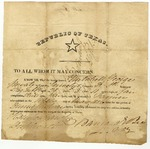 Honorable discharge of Mitchell George signed by Barnard Bee (Sr.), Republic of Texas form, May, 1836.