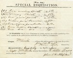 1862 Confederate requisition for apparel, signed by William Miller, John L. Knott, and Turner Ashby. Harrisonburg, Virginia.