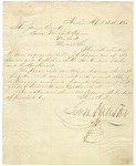 Letter of introduction for J. D. Logan, written and signed Sam Houston, Governor of Texas. April 1860.