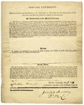 Abstract of laws and regulations at Harvard University for parents or guardians of Nathan Hale, Jr., a member of the freshman class. Signed by Josiah Quincy, Cambridge, July 17, 1834.
