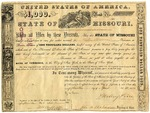 Missouri bond No. 32 for $1000. Signed by Sterling Price, governor, April 15, 1853.