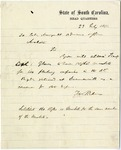 Francis Pickens letter to Col. Manigault allowing Lieut. Col. Glover to acquire to 160 rifled muskets for defense. Summerville, South Carolina. July 23, 1864.