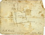 Fragment of land survey including sketch of Nathan Parris' land, Spartanburg, South Carolina, October 15, 1867.