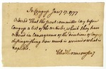 Record from the Second Continental Congress ordering that the secret committee produce a  list of articles ordered, signed by Charles Thomson, January 17, 1777.