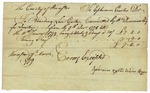 Receipt for payment to Ephraim Curtis for his boarding of prisoner Levi Carter, Worcester, Massachusetts, March 19, 1779.