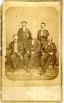Carte de visite, Confederate Generals Sterling Price, John Magruder, William Hardeman, Henry Allen, and Thomas C. Hindman in Mexico, in civilian dress, ca. 1866; print from negative by Matthew Brady.